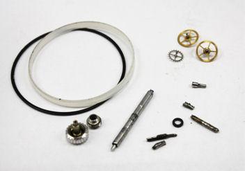 交換部品:リューズ、チューブ、ガラスパッキン、パッキン、 2番車、3番車、ガンギ車、バネ棒