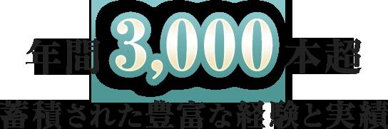 年間3,000本超 蓄積された豊富な経験と実績